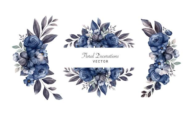 ネイビーブルーのバラと葉の水彩画のフラワーアレンジメントのセットです。ウェディングカードの植物装飾イラスト
