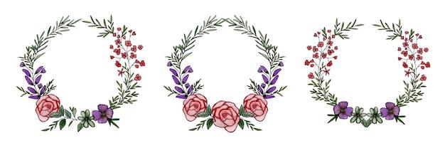 赤とバーガンディのバラと葉の水彩画のフラワーアレンジメントのセット
