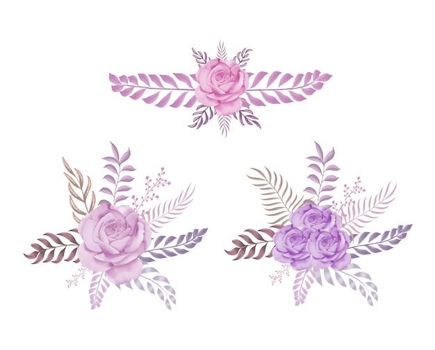 장미와 잎의 수채화 꽃꽂이 세트 premium vector