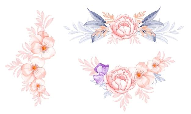 복숭아 장미와 아름다운 잎의 수채화 꽃 꽃다발 준비 세트
