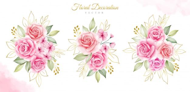金の葉と水彩の花の花束のセット