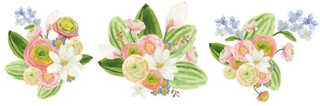 밝은 분홍색 꽃과 잎으로 수채화 꽃 부케 세트