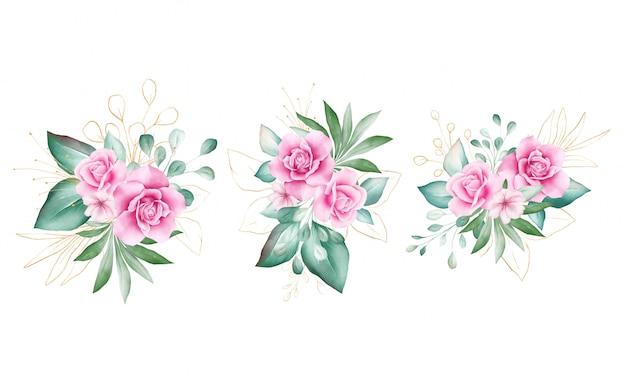 Набор акварельных цветочных букетов.