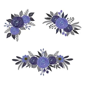 水彩花の花束のセット