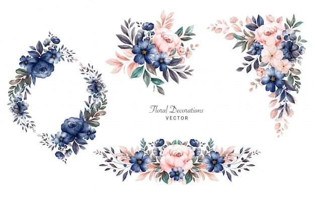 해군과 복숭아 장미와 나뭇잎의 수채화 꽃 프레임 꽃다발의 집합입니다.