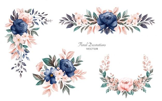 ネイビーとピーチのバラと葉の水彩画の花のフレームブーケのセット。