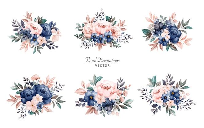 ネイビーとピーチのバラの水彩画の花のフレームブーケのセット