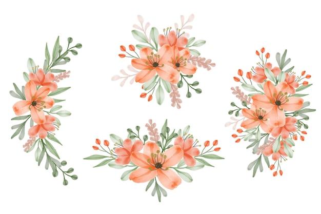 수채화 꽃 프레임 부케 세트