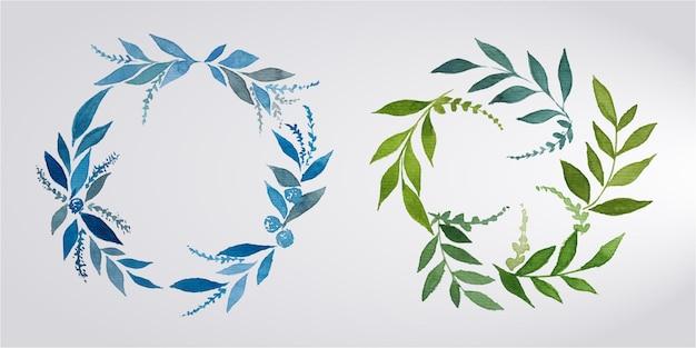 結婚式のモノグラムロゴとブランディングロゴデザインの水彩花フレームのセット