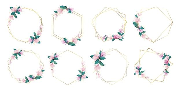 웨딩 모노그램 로고 및 브랜드 로고 디자인을위한 수채화 꽃 프레임 세트
