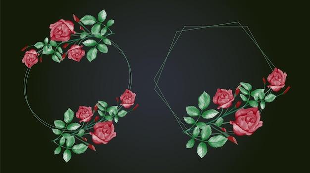 赤いバラと緑の葉と水彩花フレームのセット