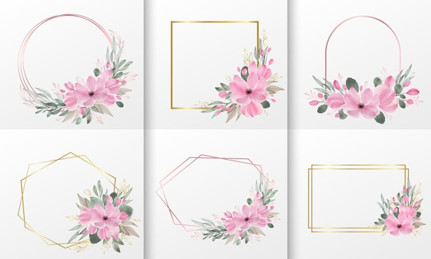 水彩花フレームのセット