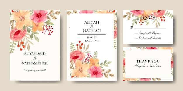 水彩花の結婚式の招待カードのセット