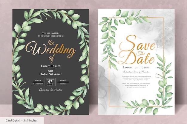 Набор акварель цветочный венок свадебное приглашение шаблон карты с рисованной цветочные