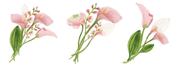 핑크 칼라 백합의 수채화 꽃 부케 세트