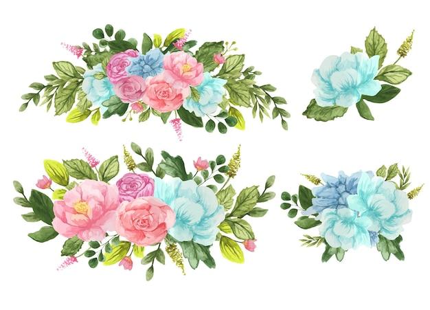 장미 수채화 꽃 꽃다발 세트