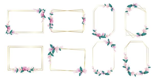 結婚式のモノグラムのロゴとブランドのロゴデザインの水彩画の花フレームのセット
