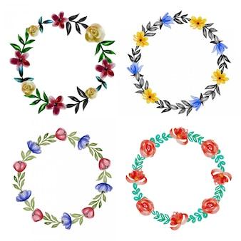 水彩花の花輪デザインのセット