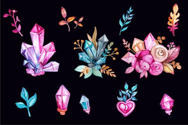 水彩ギフトと結婚式の装飾的な要素のセット