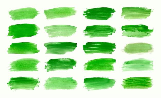 水彩グリーンブラシストロークコレクションのセット