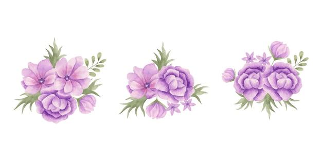 水彩手描き紫の花花束セットのセット
