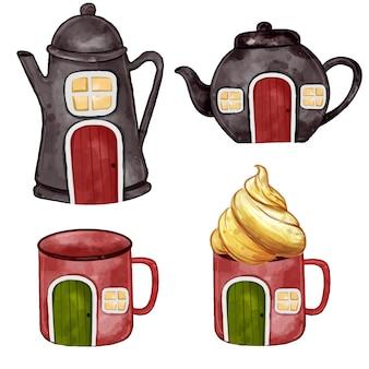 Набор акварельных иллюстраций чайник стеклянный домик