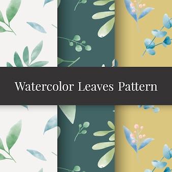 Set of watercolor leaf patterns vector