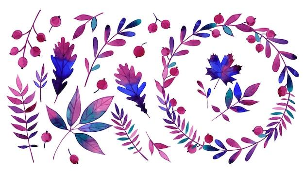 花輪の水彩画の葉、ベリー、花の要素のセット