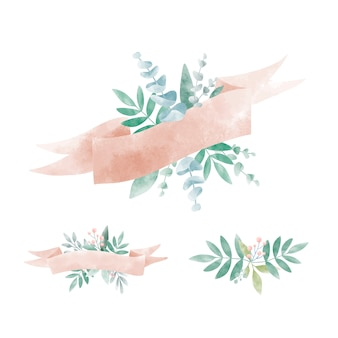 Set of watercolor leaves with a banner vector