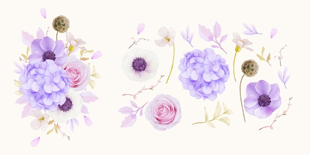 水彩ピンクのバラのセット