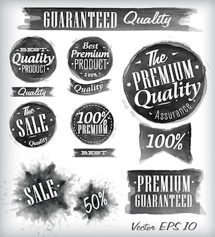 Set of watercolor Quality Badges collection black