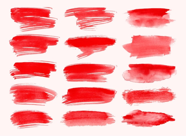 水彩の赤いブラシストロークコレクションのセット