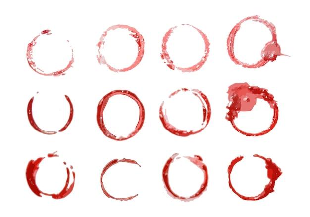 水彩の赤い円のセット