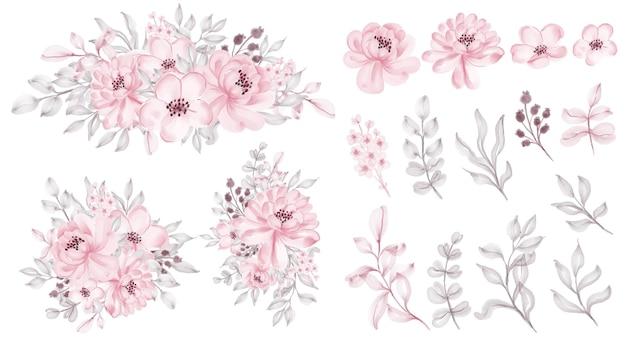 수채화 장미 분홍색 꽃잎 녹색 잎과 야생 꽃 발렌타인 장식 세트