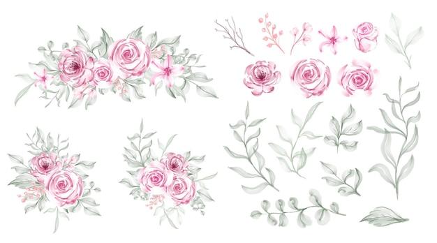 수채화 장미 분홍색 꽃잎 녹색 잎과 야생 꽃 세트