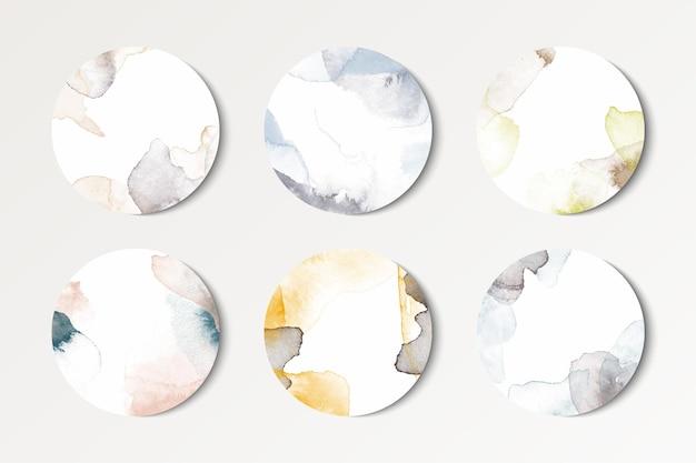 水彩の丸い背景のセット