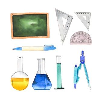 水彩画学校のセットは、装飾的な使用のための図を提供します。
