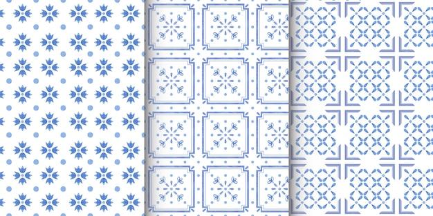 ネイビーブルーのタイルと水彩のシームレスパターンのセット