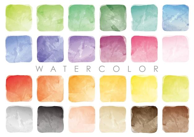 水彩の正方形の見本または背景のセット。白い背景で隔離のベクトル。