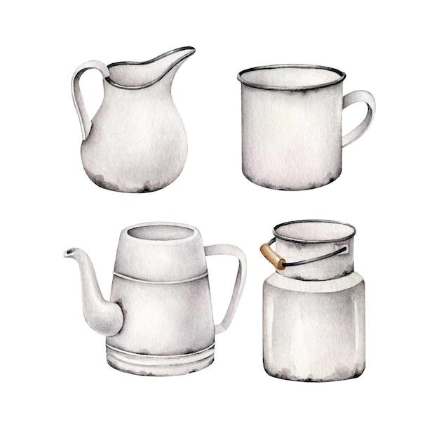 白で隔離の水彩食器のセット