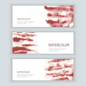 水彩のウェブバナーのセット