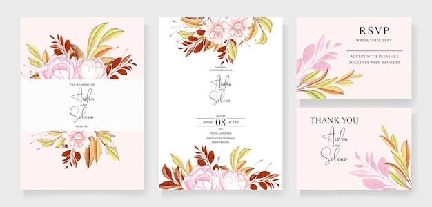 ブルゴーニュと桃の水彩画で設定された水彩画の結婚式の招待カードテンプレートのセット