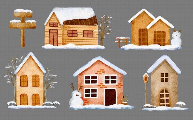 수채화 겨울 집 눈 모자 세트, 요소의 손으로 그린 그림