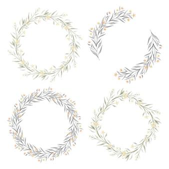水彩黄色の花輪コレクションのセット