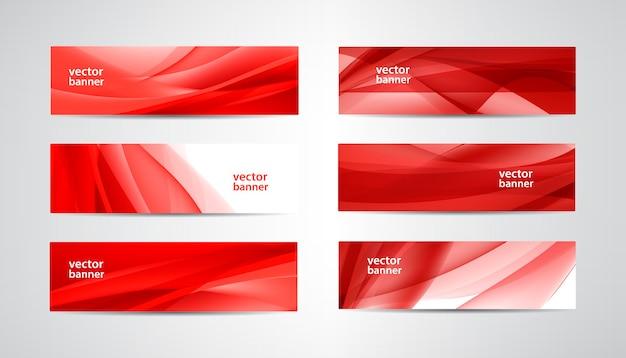 波状のバナー、赤いウェブヘッダーのセット。シルクの鮮やかな抽象的な背景、水平方向。