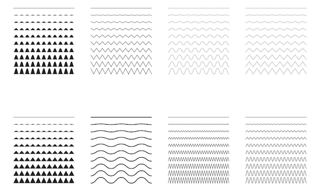 波状のセット-曲線とジグザグ-十字の水平線。