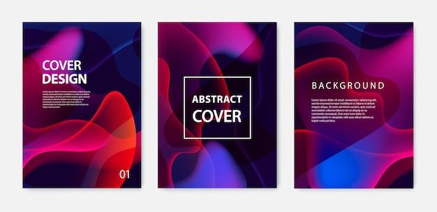 물결 모양의 포스터 세트 색상 활기찬 그라데이션 배경으로 다룹니다. 트렌디 한 모던 디자인.