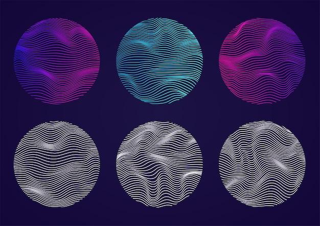Набор волнистых сфер с линиями. жидкие геометрические фигуры искусственного интеллекта. концепция искусственного интеллекта, больших данных.