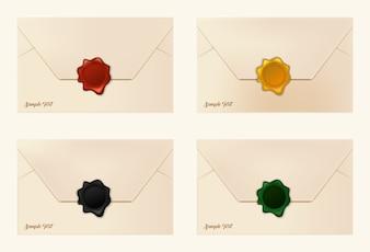 Set of wax sealed envelopes