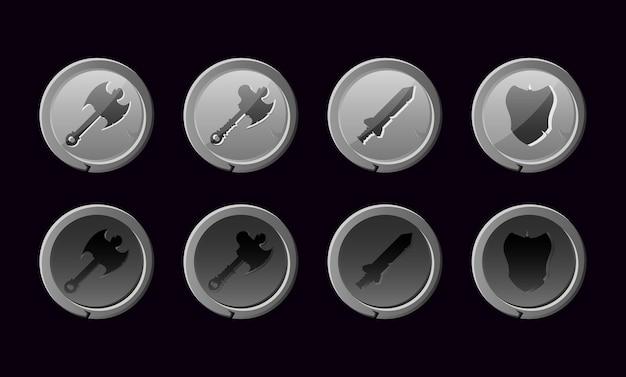 Набор кнопок оружия с каменной текстурой для элементов графического интерфейса
